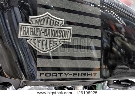 BRNO, CZECH REPUBLIC-MARCH 4,2016: Close up fuel tank of motorcycle Harley Davidson Sportster Forty-Eight on International Fair for Motorcycles on March 42016 in Brno in Czech Republic
