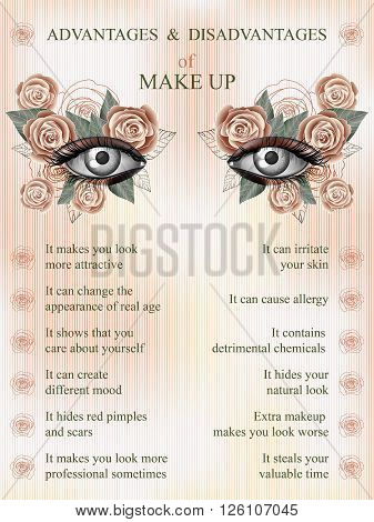 Advantages and disadvantages of makeup summer pink rose art flower makeup infographics