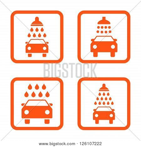 Carwash vector icon. Image style is a flat icon symbol inside a square rounded frame, orange color, white background.