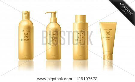Realistic cosmetic bottle mock up set package. Cosmetic brand template. Vector cosmetic packaging. Shampoo pack. Blank cosmetic package. Cosmetics beauty products. Cosmetic isolated product. 3d cosmetic bottle. Plastic cosmetic bottle.