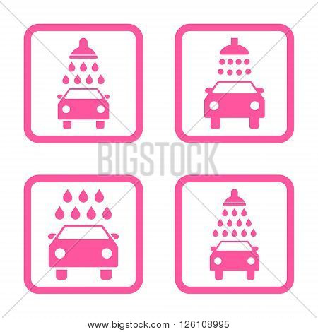 Carwash vector icon. Image style is a flat icon symbol inside a square rounded frame, pink color, white background.