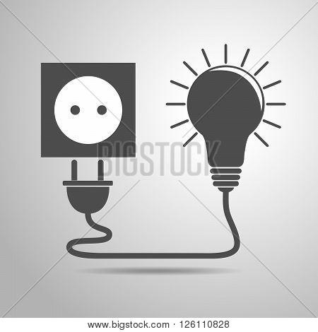 Plug socket and light bulb - vector illustration. Concept connection connection disconnection electricity. Plug socket and cord in flat design.