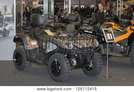 BRNO ,CZECH REPUBLIC-MARCH 4,2016: Canadian Quad bike BRP Outlander L Max 570 DPS at International Fair for Motorcycles on March 4,2016 in Brno in Czech Republic