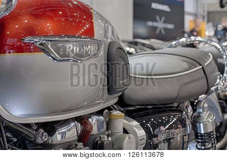 BRNO, CZECH REPUBLIC-MARCH 4,2016: Close up of inscription on fuel tank of motorcycle Triumph Bonneville T120 on International Fair for Motorcycles on March 4,2016 in Brno in Czech Republic