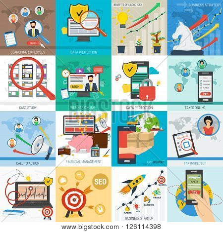 Sixteen square vector business concept. Startup mobile data safe and financial. Tax delivery and call to action in flat style. Web infographics