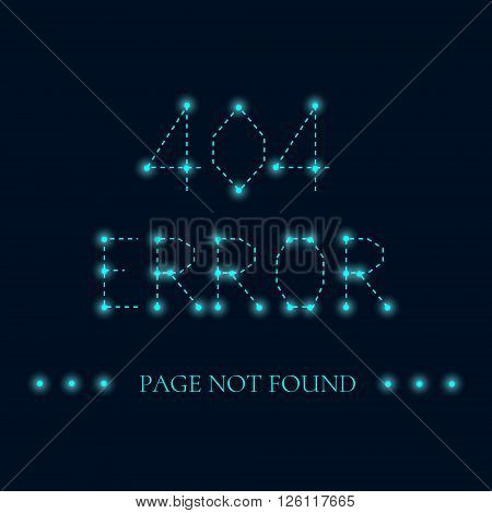 Page not found. 404 error creative design. Luminous sign. 404 connection error sign with luminous nodes at the intersections of the ribs. Web site design template. Isolated vector illustration.