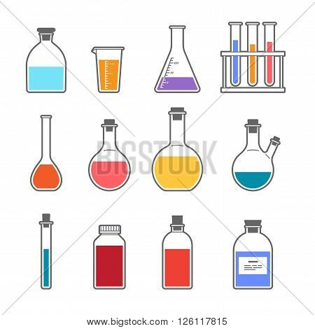 Set chemical flask Erlenmeyer flask distilling flask volumetric flask test tube. Vector illustration.