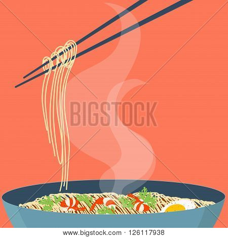 Chinese noodles and chopsticks. Bowl of noodles with shrimps, eggs and parsley. Chopsticks hovering above. Wan mian. South East Asian cuisine. Design template with place for your text.