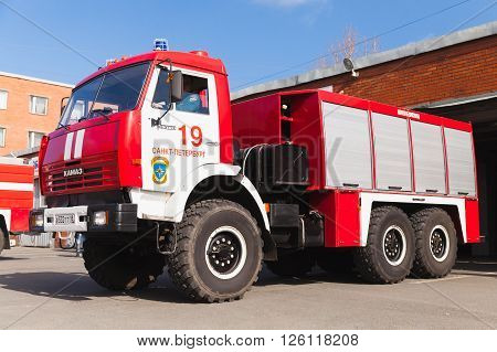 Red Kamaz 43253 Truck As A Russian Fire Engine