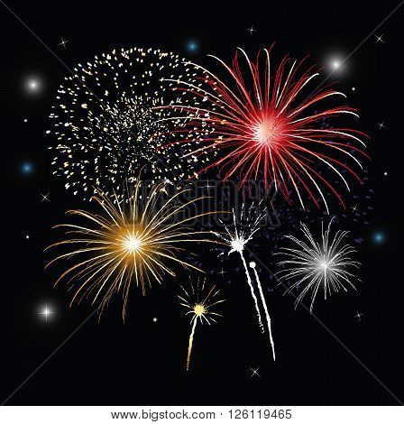 New years eve, silvester, colorful fireworks background.