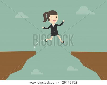 business woman jump through the gap. Business Concept Cartoon Illustration.