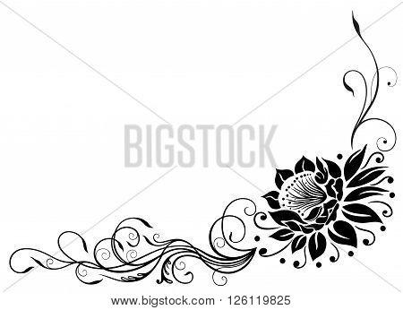 Lotus flower, beautiful waterlily, floral vector border.