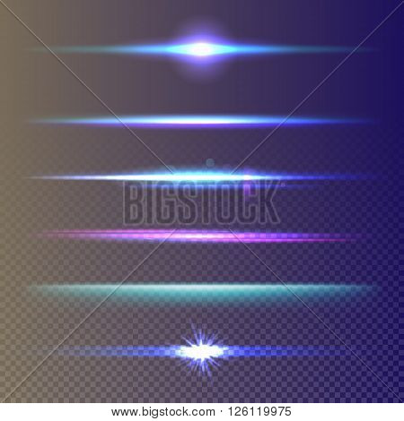 Light burst, star burst and lens flare light effect. Lens flare, glow lights effect on transparent background. Isolated lens flare and glow lights vector set. Lens flare beams and realistic lights burst. Light burst ans lights effect set.
