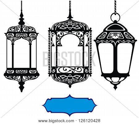Arabic lanterns for your design. Ramadan Kareem elements.
