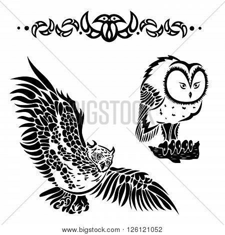 Vector set with owls, night animals in the forest.