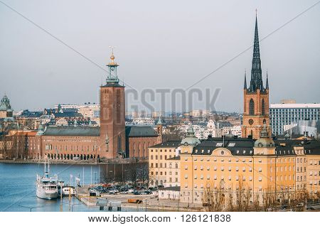 View of the City Hall castle and Riddarholmen tower in the Old Town from Katarina Elevator Stockholm Sweden.
