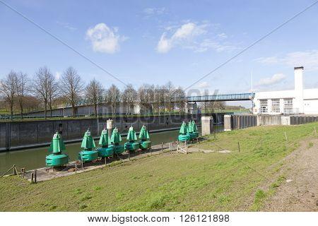 Rijswijk, netherlands, 11 april 2016: empty prinses marijke sluice in dutch amsterdam rijnkanaal in the netherlands on sunny spring day