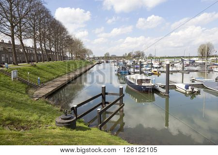 culemborg, netherlands, 11 april 2016: marina of dutch town culemborg near river lek or rhine in the netherlands