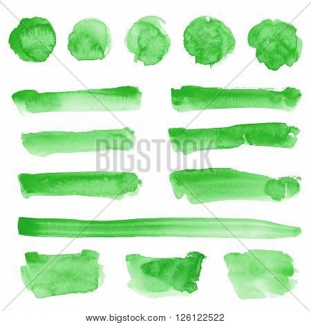 Watercolor hand drawn square round and prolonged shapes set in green color isolated on white