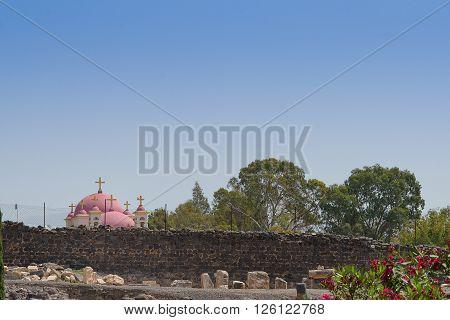 Ruins Of Capernaum With The Greek-orthodox Church