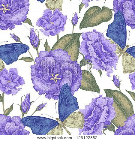 Seamless vector floral background. Flowers and butterflies. Illustration flowers in Victorian style. Vintage pattern of flowers and butterflies. Flowers roses and exotic butterfly on white background.