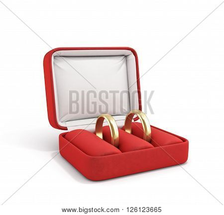 3d ilustration of wedding bands wedding rings in the red box wedding jewelry wedding preparation wedding rings box isolated on white