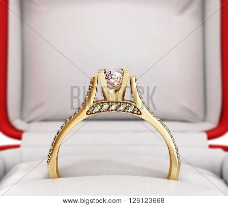 3d ilustration of gold engagement ring in a gift box on white background