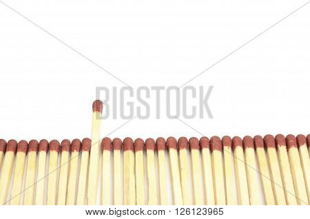 Leadership and uniqueness concept idea, one matchstick longer than the others.