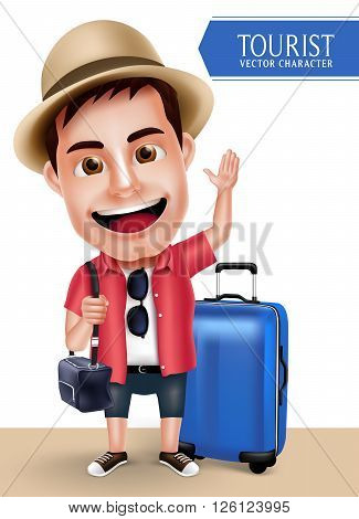 Tourist Traveler Man Vector Character Wearing Casual with Traveling Bags for Travel and Hiking Isolated in White Background. Vector Characters Set
