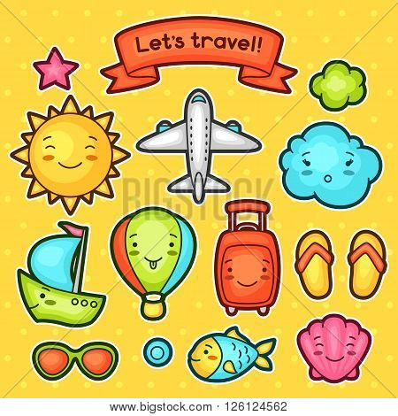 Set of travel kawaii doodles with different facial expressions. Summer collection cheerful cartoon characters sun, airplane, ship, balloon, suitcase and decorative objects.