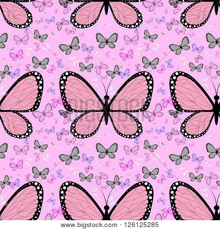 Large Pink Butterfly Surrounded By Small Multicolored Butterflies On A Pastel Background