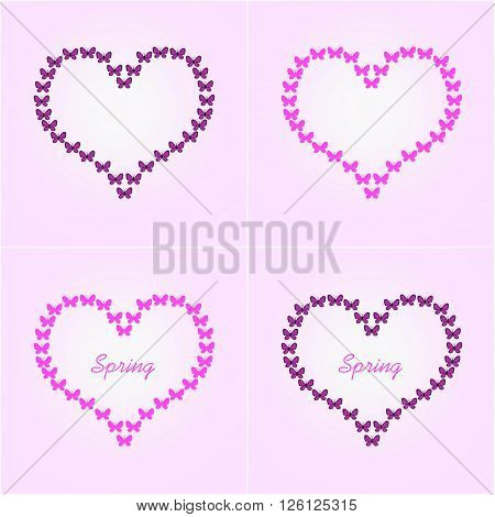 Heart Shaped Butterfly Flight, Pink And Black Butterflies. Raster Illustration.