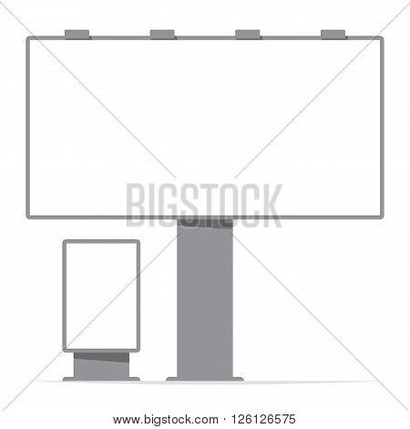 billboard board and citylight screen contour; vector illustration