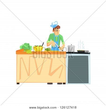 Cooking Contest Male Participant Fun Illustration In Simple Childish Style Flat Vector Design On White Background