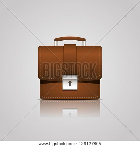 Brown business case single icon. vector illustration