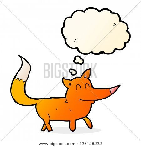cartoon little fox with thought bubble