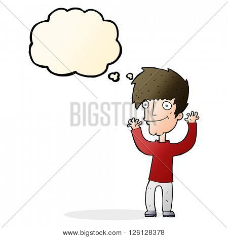 cartoon man waving arms with thought bubble