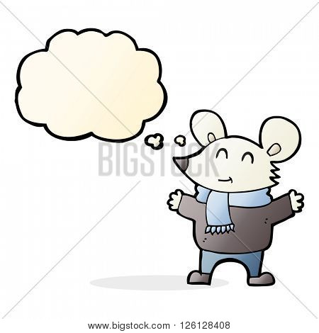 cartoon mouse with thought bubble