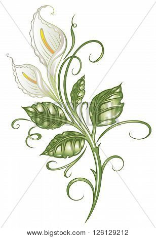Colorful floral element, white and green calla.