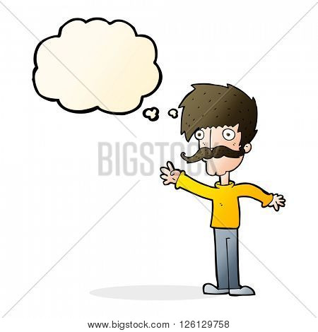 cartoon waving mustache man with thought bubble