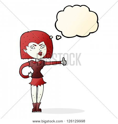 cartoon vampire girl giving thumbs up with thought bubble