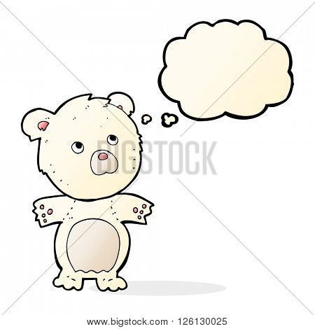 cartoon funny teddy bear with thought bubble