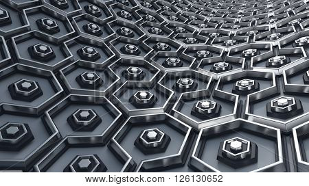 3D Render of Hex Abstract Background