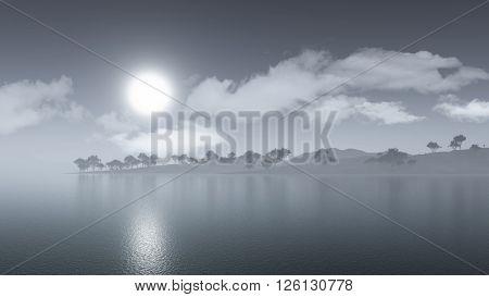 3D render of a misty island landscape