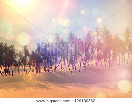 3D render of a palm tree landscape with retro effect