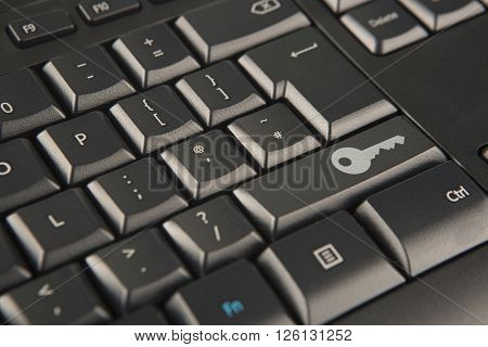 Internet security key icon replacing the shift key on keyboard