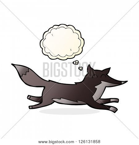 cartoon running wolf with thought bubble
