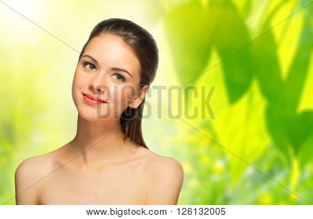 Young girl on floral background