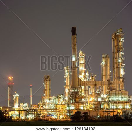 Panorama Oil Refinery Plant at dusk