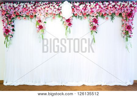 Flowers archway of wedding venue